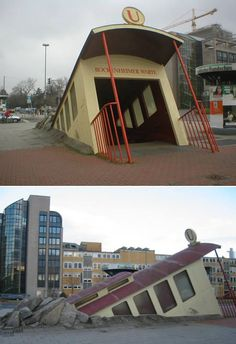 Frankfurt's Bockenheimer Warte station A weird subway entrance, looking like a train bursting through the sidewalk from below, is located in Frankfurt. Architect Zbiginiew Peter Pininski reported he felt inspired by surrealist artist René Magritte when creating it. (Link)