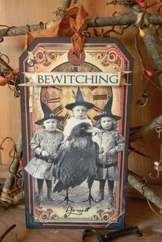 Samain: At ~ The Bewitching Hour Primitive Halloween Tag, by Harvest Moon Primitives. Halloween Paper Crafts, Halloween Labels, Halloween Photos, Halloween Projects, Holidays Halloween, Vintage Halloween, Halloween Fun, Halloween Decorations, Vintage Witch