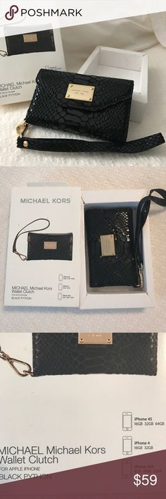 Michael Kors Wallet Clutch MICHAEL. Michael Kors Wallet Clutch in Black Python with gold interior with MK emblem. Slots for credit cards & license snap closure. Designed for hand carrying or clutching. Full- grain genuine leather. Fits IPhone 4S, IPhone 4, IPhone 3GS. Very pretty! New in box. Outside of box has a couple of marks. MICHAEL Michael Kors Bags Clutches & Wristlets