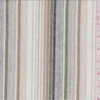 White/Tan Stripe Linen