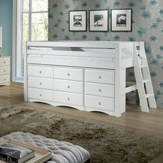 Look at this White Mission Lateral Ladder Twin Low Loft Storage Bed by Camaflexi Kids Beds With Storage, Under Bed Storage, Extra Storage, Murphy Bed Ikea, Murphy Bed Plans, Bunk Beds For Boys Room, Kid Beds, Kid Bedrooms, Girl Room