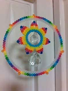 Rainbow sun catcher perler beads by Maru fuse