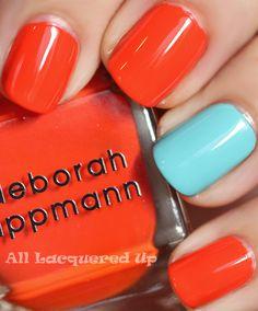 deborah lippmann lara's theme nail polish swatch and orly frisky nail polish swatch from summer 2011