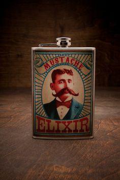 I think @Nathaniel Irvin Greer needs Trixie & Milo Mustache Elixir Flask for BourbonandBoots.com