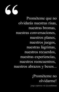 """""""Prométeme que no olvidarás nuestras risas, nuestras bromas,  nuestras conversaciones,  nuestros planes,  nuestros juegos,  nuestras lágrimas,  nuestros recuerdos,  nuestras experiencias,  nuestros reencuentros,  nuestros abrazos y besos...  ¡Prométeme no olvidarme!"""""""