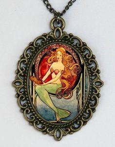 Mermaid art nouveau necklace