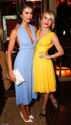 Always up for a night out: Nina welcomed a bunch of celebrity pals including Julianne Hough in a buttercup yellow dress and black sandal heels