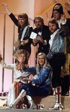 Abba - Sweden, winner of the Eurovision Song Contest 1974 (with Stig Anderson an Sven-Olof Walldoff)
