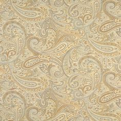 F325 Gold, Blue And Bronze, Paisley Contemporary Upholstery Grade Fabric By The Yard