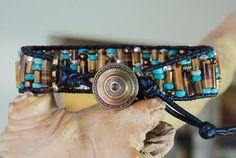 RUSTIC TIGER Beaded Leather Bracelet by BraceletsofBlueRidge