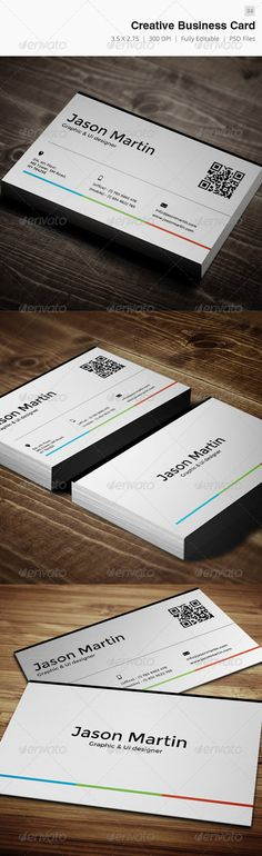 Creative Business Card - 04 #GraphicRiver Business card – perfect for any idustry. Features. 300 DPI CMYK Print Ready! - Full Editable, Layered you can find fonts here: Montserrat – .google /webfonts/specimen/Montserrat please dont forget to rate it. Created: 16January13 GraphicsFilesIncluded: PhotoshopPSD Layered: Yes MinimumAdobeCSVersion: CS2 PrintDimensions: 3.72x2.25 Tags: attractive #beautiful #brand #cmyk #color #cool #creaitve #designer #developer #executive #freelancer #hd #hot…