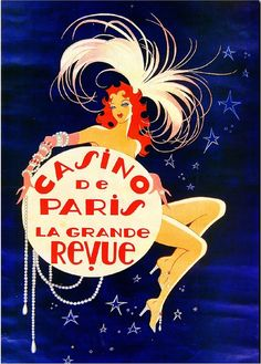 Casino de Paris France French Vintage European Travel Art Poster Advertisement