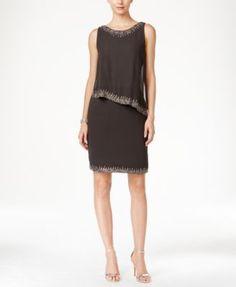 J Kara Beaded-Trim Popover Dress