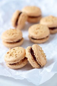 Peanut Butter & Jelly, Lemon Meringue or Caramel Banana Macarons by tartelette Jelly Recipes, Sweet Recipes, Cookie Recipes, Dessert Recipes, Frosting Recipes, Delicious Desserts, Yummy Food, Macaron Flavors, Macaron Cookies