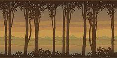 Birchwood wallpaper frieze from Bradbury & Bradbury Art Wallpapers