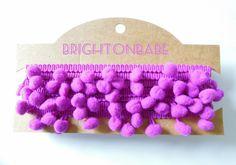 2 yds Magenta pom pom trim 10 mm by the yard. Bobble trim mulberry color, bunting border. UK Seller