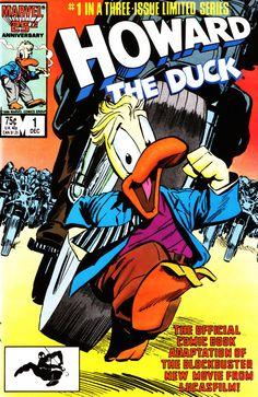 Portada de Howard The Duck Movie Adaptation #1 (1986) por Danny Fingeroth y Kyle Baker.