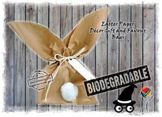 Easter Bunny Paper Bags - Eco friendly Biodegradable Compostable Decoration Gift Favor Bags Easter Bunny, Easter Eggs, Create A Fairy, Herb Pots, Clay Flowers, Paper Bags, Easter Table, Egg Hunt, Paper Decorations