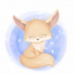 Fennec Fox, Zorro Fennec, Baby Raccoon, Baby Koala, Baby Baby, Scrapbooking Image, Elephant Background, Fox Drawing, Cute Animal Illustration