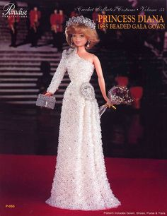 144.Barbie fashion doll dress-crochet pattern in pdf, Princess Diana dress pattern by Vandihand on Etsy