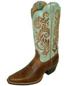 OBSESSED Twisted X Boots Women's Western NS Toe 12'' - Peanut/Sky Blue