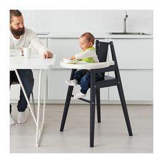 BLÅMES Highchair with tray, birch black black -