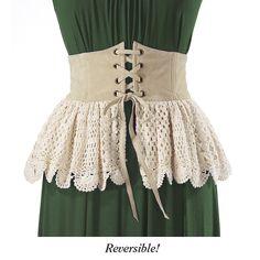 Suede and Crochet Peplum - Women's Clothing & Symbolic Jewelry – Sexy, Fantasy, Romantic Fashions