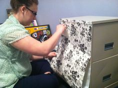 Dress up an old filing cabinet with contact paper!