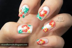 Something Tropical|Beach Inspired Nail Art Designs   View how it is done here: http://naildesigns.com/beach-inspired-nail-art-designs/