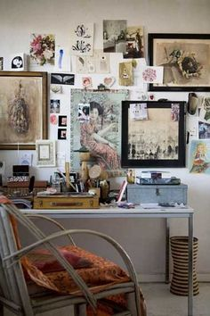 workspace with a serious inspiration wall
