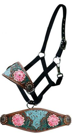 Dark Horse Tack is proud to offer... Showman ®   Adjustable nylon bronc halter filigree inlay and painted floral tooled noseband. This halter features a wide br
