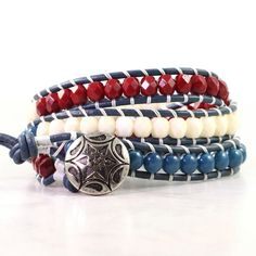 4th of July Bracelet Red Wrap Bracelet by AbacusBeadCreations, $46.00