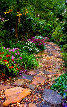 It's a combination of different rocks and plants to create a colorful garden path. Share us your ideal stone path for a garden design! Path Design, Garden Design, Design Ideas, House Design, Garden Stones, Garden Paths, Pebble Garden, Garden Sheds, Garden Cottage