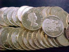 2  BU UNCIRCULATED  ORIGINAL ROLLS 40 coins Canadian 1964 Silver Half Dollars