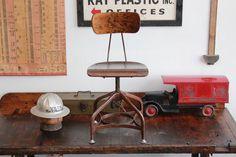 MINT CONDITION Vintage Industrial Toledo UHL Draftsman Chair w/ Original Wood Finish - 1930s