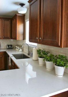 (paid link) dark wood farmhouse kitchen Outdoor Kitchen Countertops, White Kitchen Cabinets, Painting Kitchen Cabinets, Kitchen Paint, Kitchen Flooring, Diy Kitchen, Kitchen Decor, Kitchen Wood, Oak Cabinets