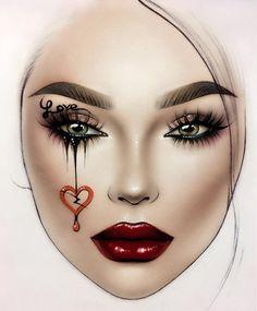 Makeup Drawing, Eye Makeup Art, Makeup Inspiration, Makeup Inspo, Mac Face Charts, Makeup Face Charts, Lime Crime Makeup, Creative Makeup Looks, Halloween Makeup Looks