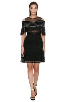 A flared irresistible Vero Milano crochet mini black dress with elegant cut-out shoulder.