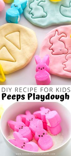 Playdough with marshmallows. Easy peeps playdough recipe for a fun edible playdough for kids. Find out things you can do with leftover peeps. Easter Activities For Toddlers, Playdough Activities, Holiday Activities, Stem Activities, Easter Play, Easter Peeps, Homemade Playdough, Spring Crafts For Kids, Easter Crafts