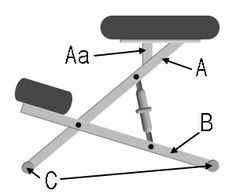 Schematic Kneeling Chair (labelled)