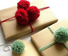 Christmas wrapping with pom poms