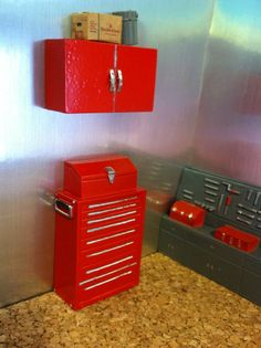 barbie diorama for sale | 24 / G Scale Tool Chest and Wall Cabinet for Diorama Garage or Shop