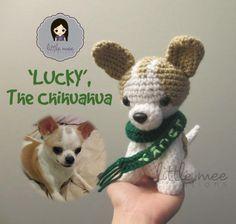Free Crochet Dog Pattern-- : 'Lucky', the Chihuahua Dog Amigurumi Crochet Dog Patterns, Amigurumi Patterns, Amigurumi Doll, Chihuahua Dogs, Chihuahuas, Love Crochet, Stuffed Toys Patterns, Crochet Animals, Crochet Dolls