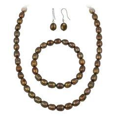 Glitzy Rocks Dark Brown Freshwater Pearl Jewelry Set (10 x 8 Rice)
