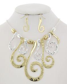 Two-tone / Lead&nickel Compliant / Metal Chunky / Fish Hook (earrings) / Graduating / Filigree / Necklace & Earring Set