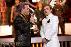 A nation holds their breath as Caesar Flickerman interviews Peeta Mellark in The Hunger Games: #CatchingFire. (Photo credit: Murray Close)