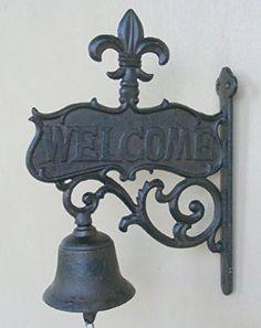 Cast Iron Hanging Fleur De Lis Welcome Bell