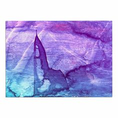 KESS InHouse Malia Shields 'Blues Abstract Series 2' Purple Aqua Dog Place Mat, 13' x 18' * Check this awesome image  : Dog food container