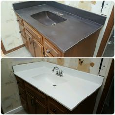 """""""What do I do with this ugly bathroom countertop""""? Reglazing and plumbing is the answer! billsyms.com"""