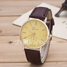 Mujer Reloj de Moda Reloj Casual Cuarzo Piel Banda Negro Marrón Blanco Negro Amarillo 2017 - $4.99